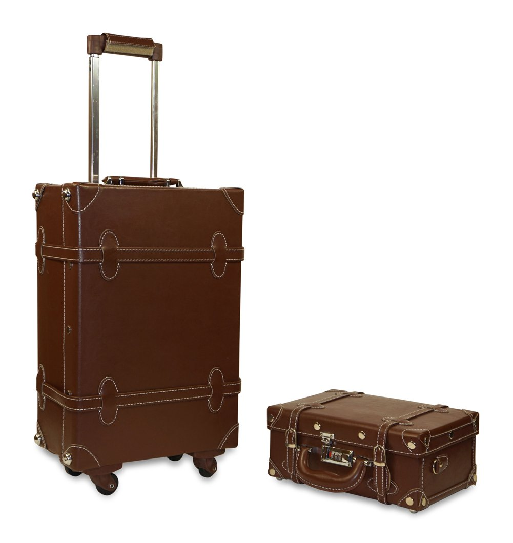 Vintage Trunk Antique Hardside Luggage Suitcase Set of 2 0