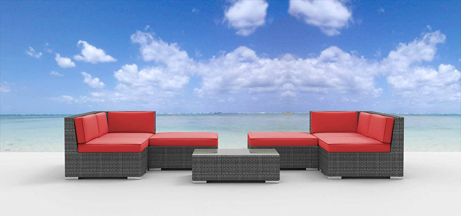 www.urbanfurnishing.net Urban Furnishing - HAWAII 7pc Modern Outdoor Backyard Wicker Rattan Patio Furniture Sofa Sectional Couch Set - Coral Red at Sears.com
