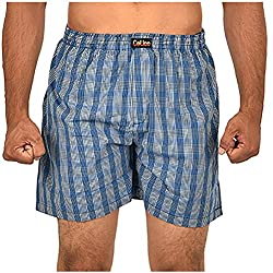 CALICO Men's Cotton Boxers (CAL_03_S, Grey and Blue, S)