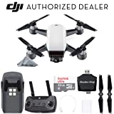 DJI Spark Drone Quadcopter (Alpine White) with Remote Controller, Battery, Sandisk Ultra 32GB Memory Card, Card Reader Bundle Starter Kit