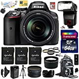 Nikon D5300 24.2 MP CMOS Digital SLR Camera with 18-140mm f 3.5-5.6G ED VR AF-S DX NIKKOR Zoom Lens (Black) (13303) with Advanced Accessory Bundle Kit includes 64GB SD Memory Card + Bower SFD728 Automatic Flash + SD Card Reader + 60