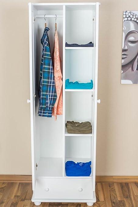 Kiefer-Kleiderschrank A-Qualität Weiß 195x65x59 cm