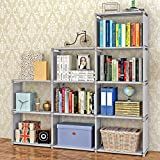 Bookshelf 9-Cubes Book Shelf Office Storage Shelf Plastic Storage Cabinet (Grey) (Color: Gray - 9 Cube, Tamaño: Large)
