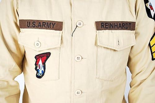 HOUSTON ヒューストン MILITARY WAPPWN SHIRT ARMY ミリタリー ワッペン シャツ 40233 KH カーキ サイズ15.5