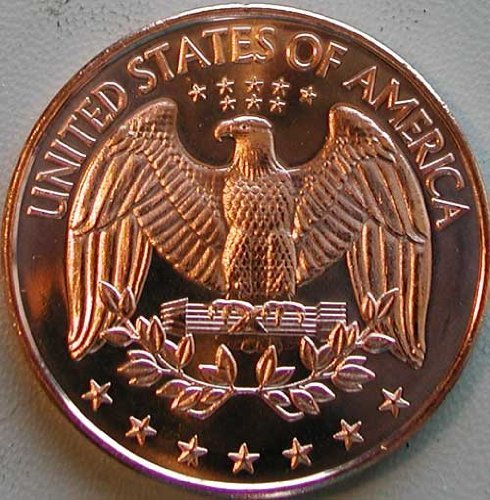 1 Ounce 2012 .999 Pure Copper Bullion Round Modern Quarter Reverse Design