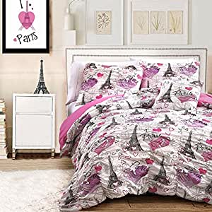 comforter sets for teen girls paris bedding pink black white with eiffel tower. Black Bedroom Furniture Sets. Home Design Ideas