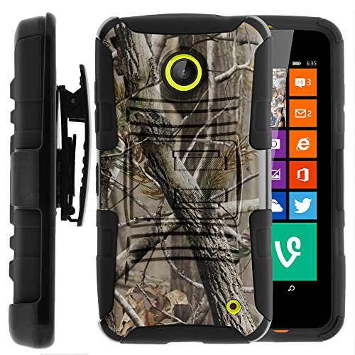 Nokia Lumia 635 Case, Nokia Lumia 630 Case, Two Layer Hybrid Armor Hard Cover with Built in Kickstand and Holster Belt Clip for Nokia Lumia 635, 630 (AT&T, Sprint, T Mobile, Cricket, Virgin Mobile, Boost Mobile, MetroPCS) from MINITURTLE | Includes Screen Protector - Nature's Camouflage (Nokia Lumia 635 Boost Mobile compare prices)