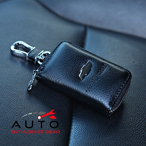 Car KeyChain Cover Premium Leather Key Chain Coin Holder Keyring Hook Wallet Zipper Case Remote Smart Key Fob Alarm Security Chevrolet Chevy (Truck Utility Topper compare prices)