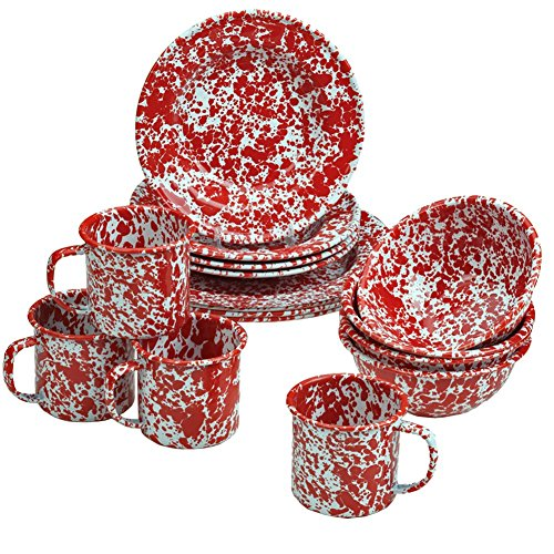Enamelware 16 Piece Dinnerware Starter Set -Red Marble (Red And Black Dishes compare prices)