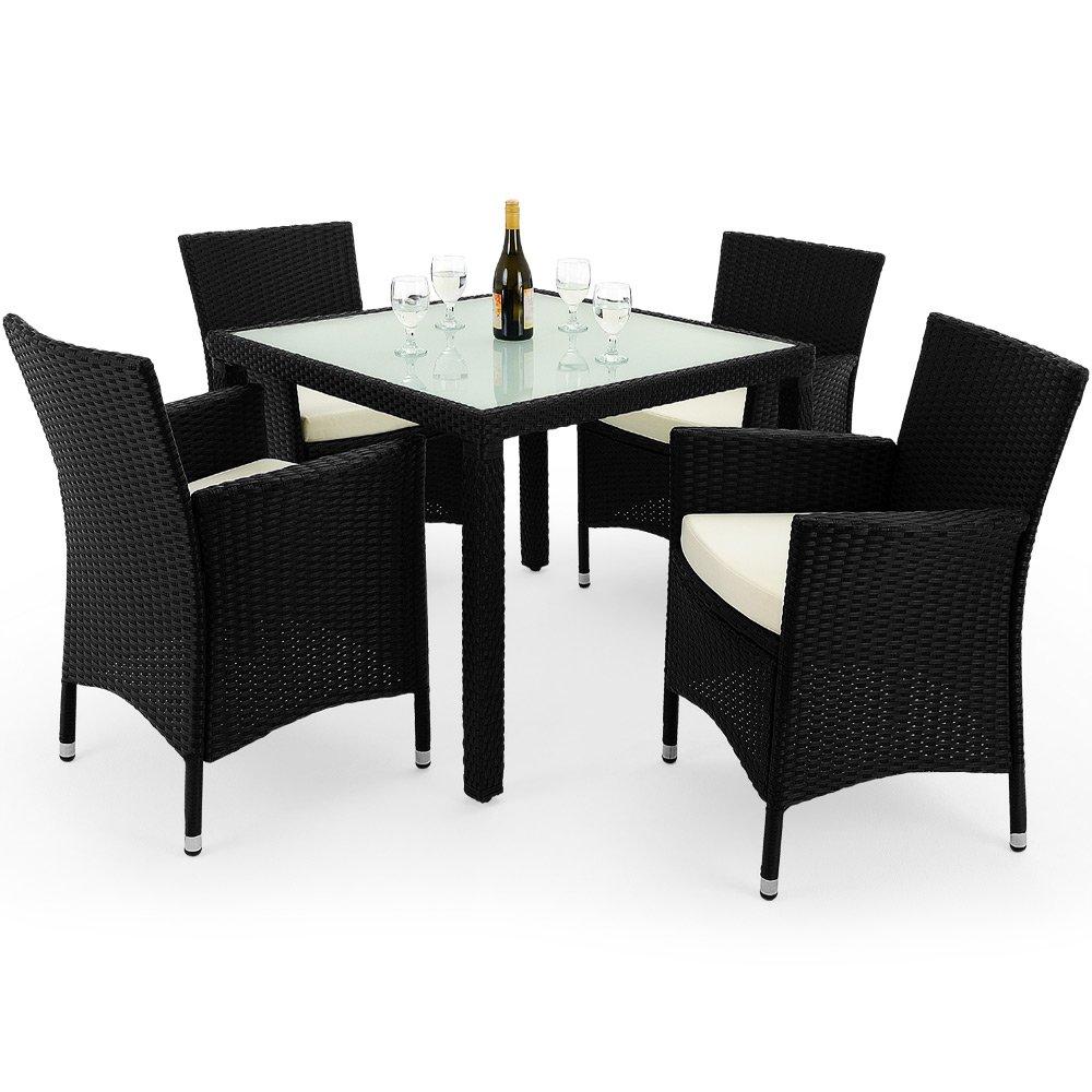 9tlg. Polyrattan Sitzgruppe mit Glastisch – Sitzgarnitur Rattan Lounge online bestellen
