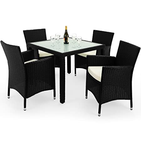 Rattan Garden Furniture Dining Table and Chairs Set Outdoor Patio Conservatory 4 Seater Black with Glass Table Top