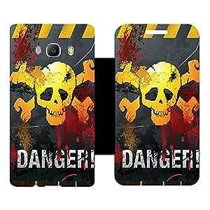 Skintice Designer Flip Cover with Vinyl wrap-around for Samsung Galxy J510 (2016), Design - Danger Mark