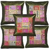 Indian Handmade Zari Embroidered Work Cushion Cover Silk Designe Decorative Green 16 X 16 Inches