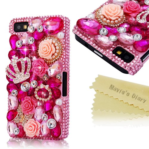 Mavis'S Diary 3D Handmade Crystal Butterfly Crown Cross Love-Line Rhinestone Dimond Disign Case Pink Cover With Soft Clean Cloth (Blackberry Z10, Crown)