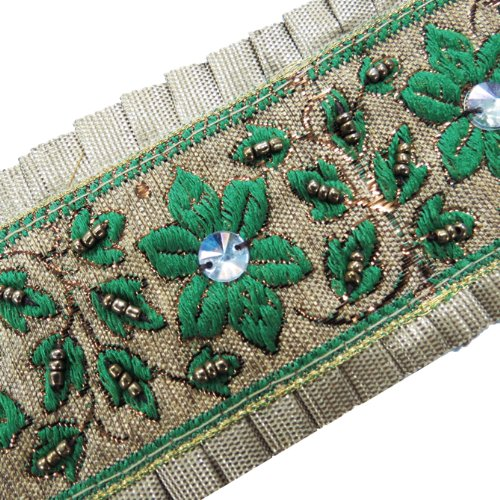 1 Yd Beige Green Ribbon Trim Sewing Embroidered Lace Craft