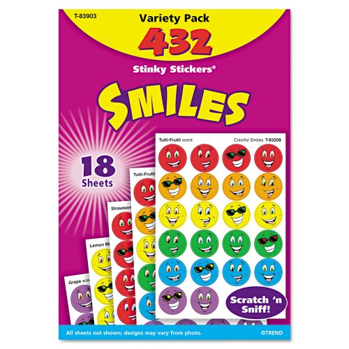 Trend Enterprises Smiles Variety Pack Stinky Stickers., 432/pkg (T-83903) - 1