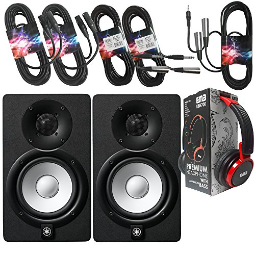 Yamaha Studio Package - Pair of Yamaha HS5 BLACK 70W Powered 2-way Studio Monitor + 2 XLR XLarge Cables + 3.5mm to Dual XLR Cable + 2 1/4