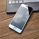 iPhone5/5S/5SE iPhone6/6S/6P iPhone7/7P カラー 強化ガラスフィルム 全画面貼る可能 0.26mm 超薄型 液晶保護フィルム カラーフィルム 半面ミラー仕様 正面用と裏面用の2枚セット➕バンパー (iPhone7, シルバー)