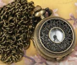 Vintage Style Covered Pocket Watch With Window Pendant Clock With 15 Chain In Antique Gold Finish""
