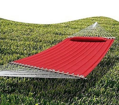 Hammock outdoor quilted cotton fabric beach rope hammocks for Fabric hammock chair swing