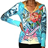 CHRISTIAN AUDIGIER Ed Hardy Rose Panther Womens Hoodie