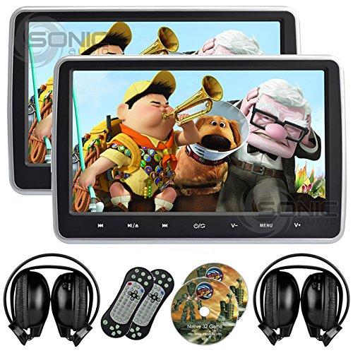 2-x-Sonic-Audio-hr-10-C-Universal-257-cm-tablet-style-Wechselrahmen-Kopfsttze-DVD-PlayerBildschirm-mit-USBSDHDMI-und-2-x-Kabellose-Infrarot-Kopfhrer-Plug-Rcksitze-Entertainment-System