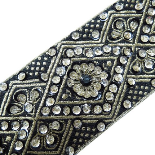 1 Yd Black Hand Beaded Sequin Border Trim Ribbon Lace