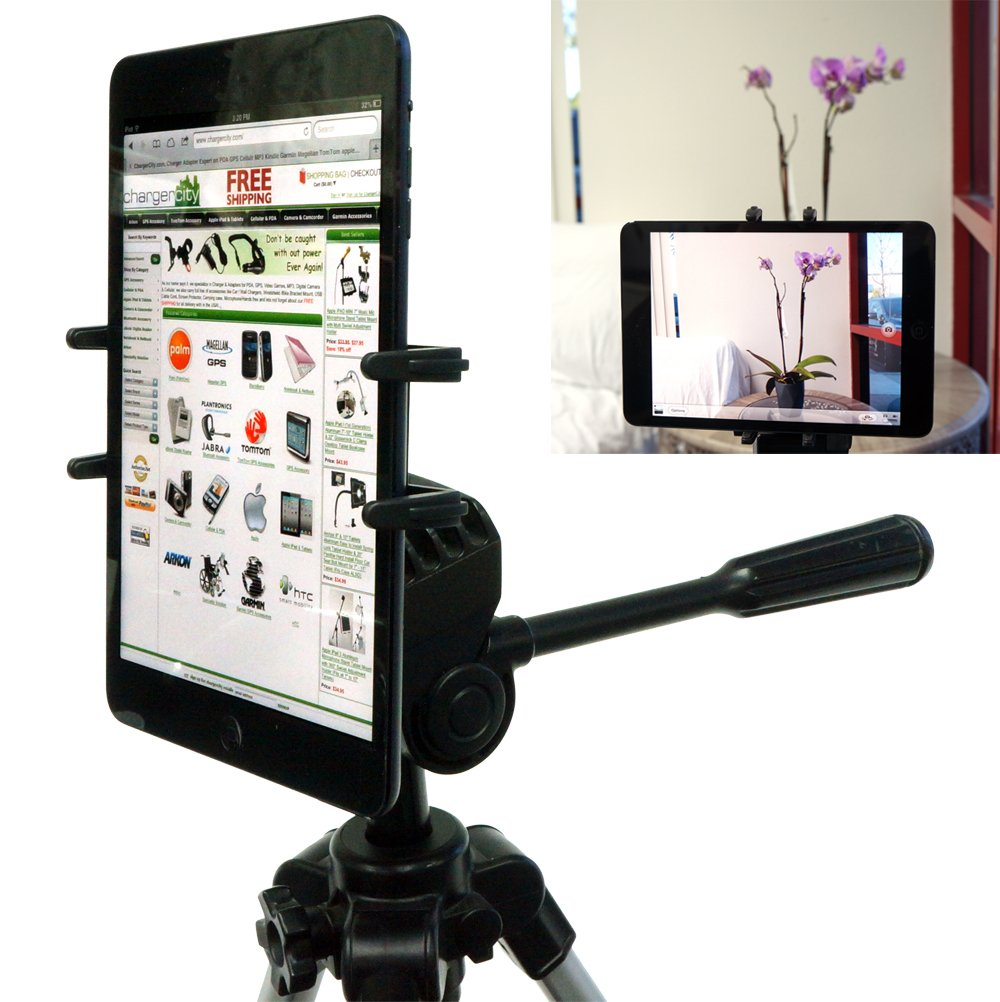 "ChargerCity Exclusive Apple iPad Mini Google Nexus 7 FHD Samsung Galaxy Tab 2 3 4 Amazon Kindle Fire 7 HD HDX 7""inch Tablet Tripod MonoPod Video Recording Camera Adapter Mount with 1/4-20 Thread Adapter .."