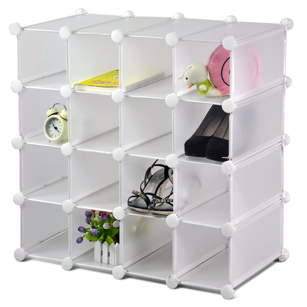 LIVIVO 16 Section Interlocking Cube Shoe Rack Organiser with Back Panels Storage and Display Stand Holder (White)