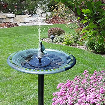 [Upgraded] Solar Powered Bird Bath Fountain Pump, Hiluckey 1.4W Solar Panel Kit Free Standing Water Pump, Outdoor Watering Submersible Pump for Pond, Garden Decoration, Pool, Fish Tank, Aquarium