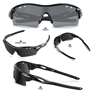 40ed6673041 AKASO Mens Chameleon Multisport Polarized Sunglasses with 5 interchangeable  lenses and 100 % UV Protective Cycling Sunglasses Unique Christmas Gifts