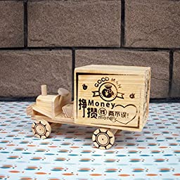 YONG Wooden piggy bank craft ornaments
