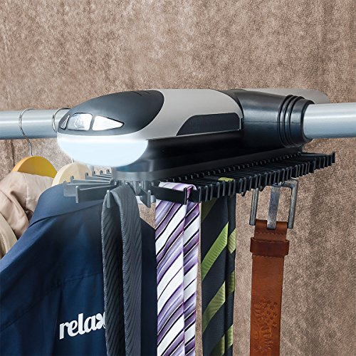 Relaxdays 10018970 rangement pour pantalon et porte-cravates électrique avec éclairage lED rotatif sur simple pression d'un bouton
