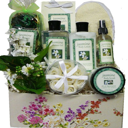 Art Of Appreciation Gift Baskets Jasmine Delights Spa Bath And Body Care Package Box front-48843