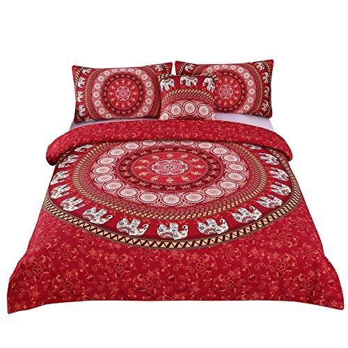 Sleepwish 4 Pcs Red Mandala Bedding Home Elephant Messenger Indian Bed Linen Soft Fabric Moroccan Bedclothes Duvet Cover Set Full Size (Moroccan Bedding Full compare prices)