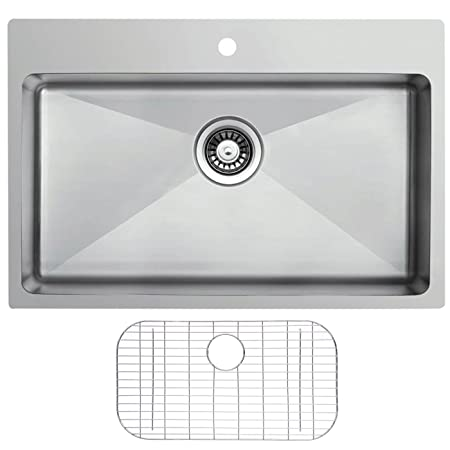Ukinox RFU837.G Modern Dual Mount Single Bowl Stainless Steel Kitchen Sink with Bottom Grid