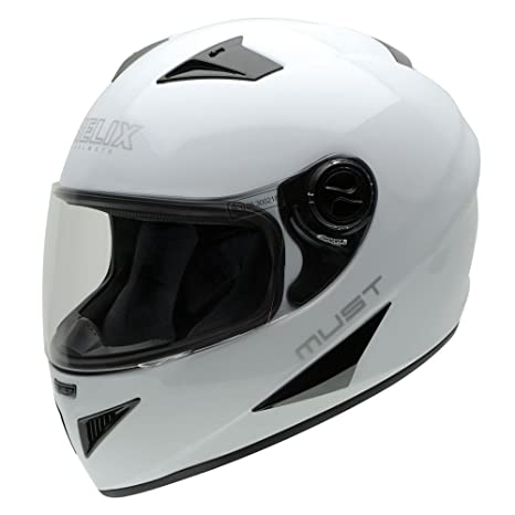NZI 150204G113 Must W Casque de Moto, Blanc, Taille : L