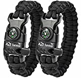 """A2S Paracord Bracelet K2-Peak Series - Survival Gear Kit with Embedded Compass, Fire Starter, Emergency Knife & Whistle - Pack of 2 - Quick Release Design Hiking Gear (Black / Black 8.5"""")"""