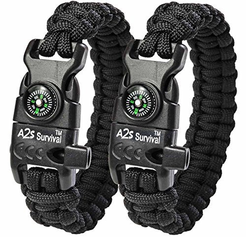 A2S-Paracord-Bracelet-K2-Peak-Series-Survival-Gear-Kit-with-Embedded-Compass-Fire-Starter-Emergency-Knife-Whistle-Pack-of-2-Quick-Release-Design-Hiking-Gear-Black-Black