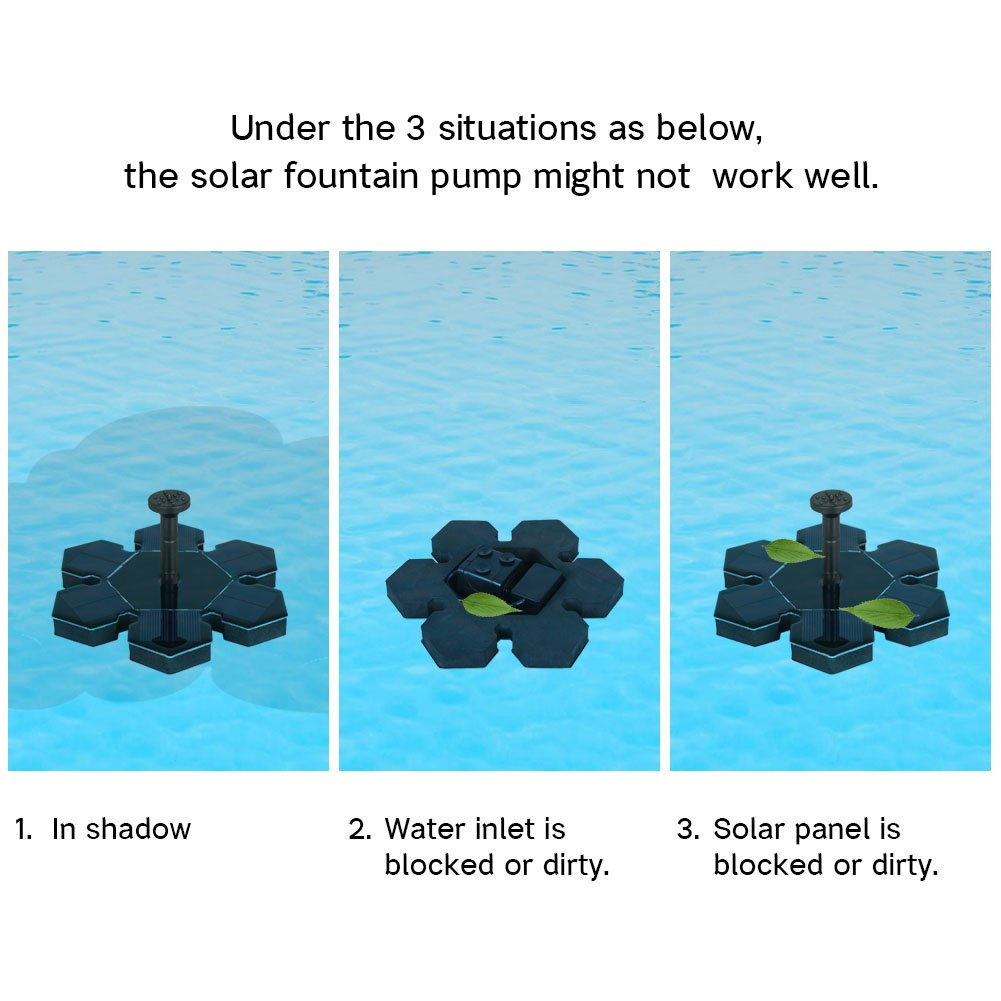 InnoGear Solar Powered Fountain Pond Pump Bird Bath Fountains Outdoor Watering Submersible Water Floating Pump Kit with Different Spray Heads for Fish Tank Aquarium Pond Pool Garden Decoration