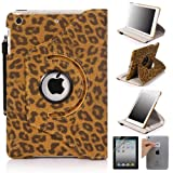 E LV 360 Degrees Rotating Stand Luxury Leopard Design PU Leather Case for Apple New iPad Mini with Automatic Wake and Sleep function+1 Black Stylus, 1 Screen Protector and E LV Microfiber Sticker Digital Cleaner (Brown, iPad Mini)