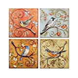 H.COZY Birds Modern Trippings Fashion Home Decorative Paintings Oil Painting on Canvas 4pcs/set Oil Painting Dd101 (No Frame)