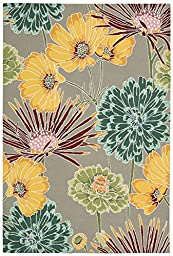 Rug Squared Laurel Floral Area Rug (LA26), 8-Feet by 10-Feet 6-Inches, Gray