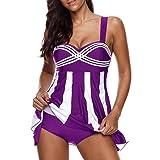 Clearance Sale Women's Tankini Sets Plus Size,Swimdress and Boy Shorts Swimwear Swimsuit (Stripe Purple, XXL)