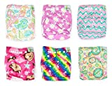 Naturally Nature Cloth Diaper 6pcs Pack Washable Adjustable with 2 Inserts Each- Girl Variety Pack – Rainbow, Pink Stripes, Pink Daisies, Pink Monkey, Multi-swirls,