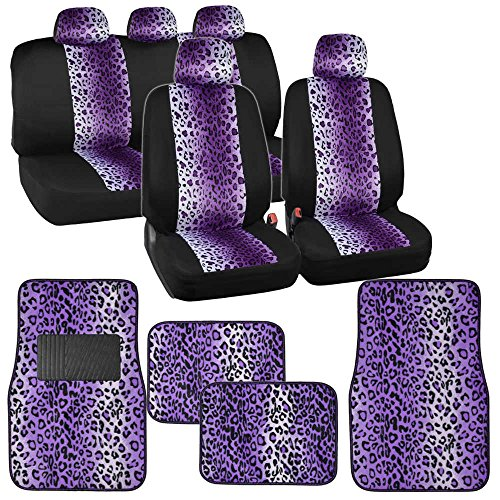 Two Tone Purple Leopard Seat Covers Floor Mats for Car Truck SUV Auto Accessories (Brown Leopard Seat Covers compare prices)