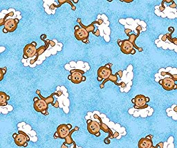 SheetWorld Fitted Bassinet Sheet - Monkeys Blue - Made In USA