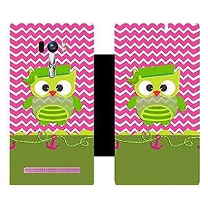 Skintice Designer Flip Cover with Vinyl wrap-around for Asus Zenfone Selfie, Design - green owl