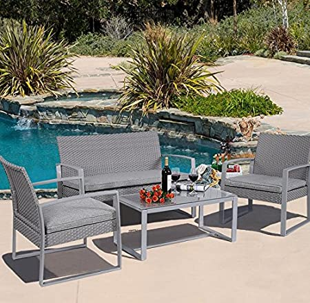 Patio Furniture-Patio Furniture Sets- 4 Piece Rattan Cushioned Patio Set-Color GREY-1x Double Sofa 2 X Single Sofas 1x Table With Tempered Glass -Patio Furniture Cushions For Each Seat-Offers Comfortable And Exceptionally Stunning Outdoor Lounging-100% Th