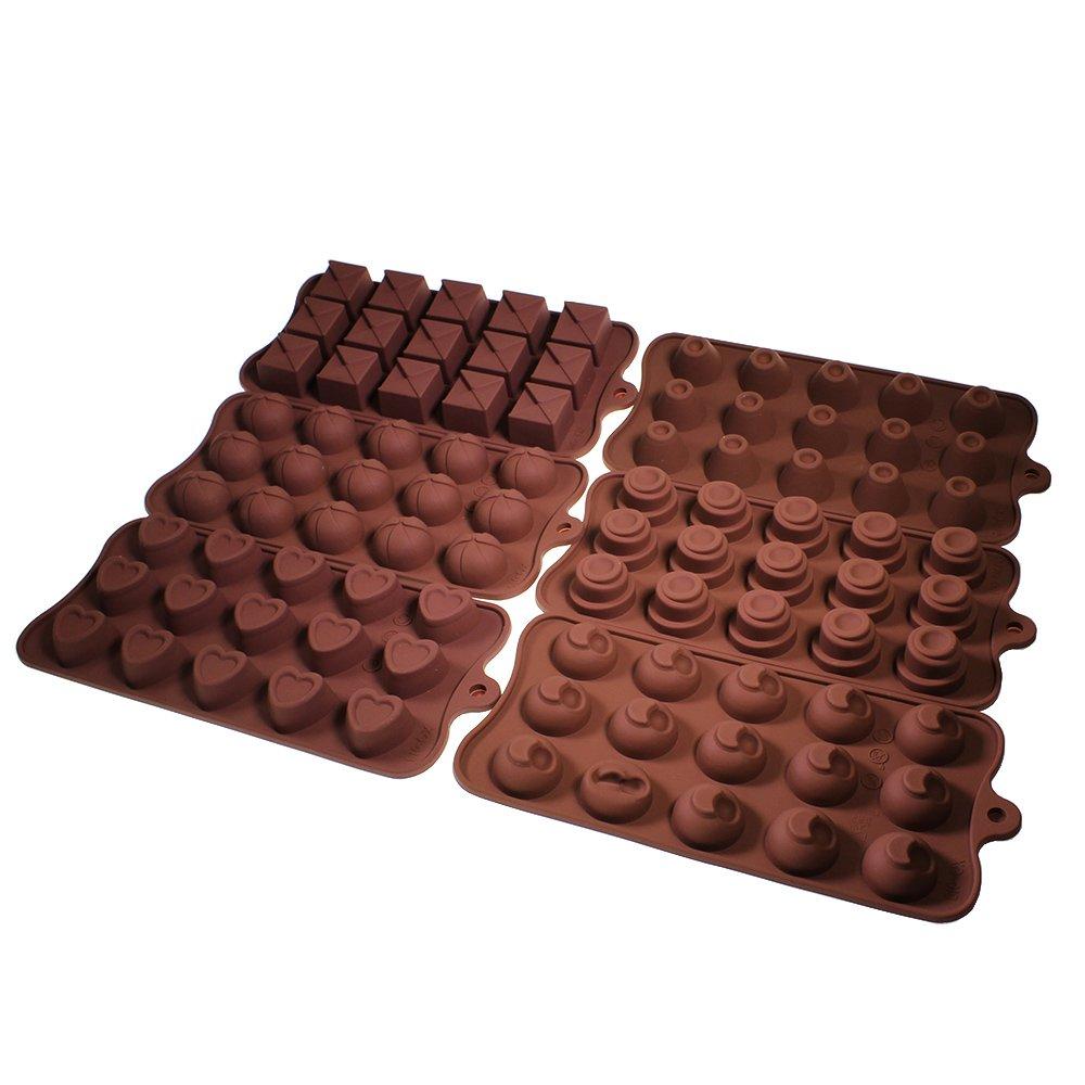 Set de 6 bandejas con 90 moldes de silicón flexible para chocolate, gelatina, cubos de hielo, horneado y enfriado, por Kurtzy TM   Más información y revisión del cliente
